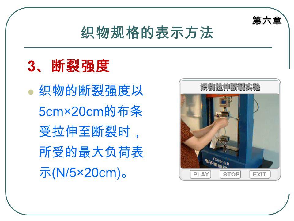 织物规格的表示方法 3、断裂强度 织物的断裂强度以5cm×20cm的布条受拉伸至断裂时,所受的最大负荷表示(N/5×20cm)。