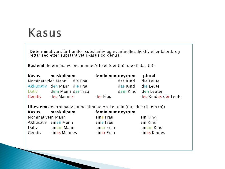 Kasus Determinativar står framfor substantiv og eventuelle adjektiv eller talord, og rettar seg etter substantivet i kasus og genus.