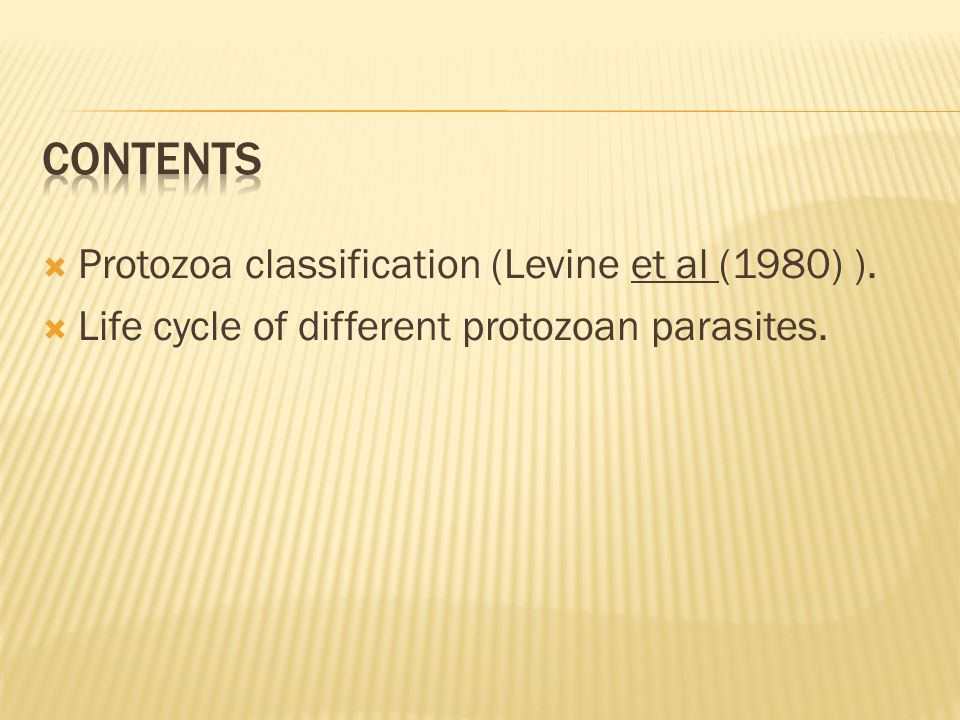 Contents Protozoa classification (Levine et al (1980) ).
