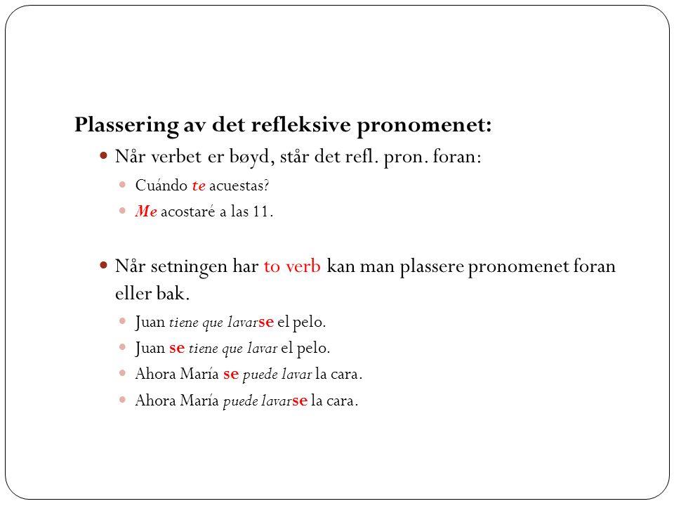 Plassering av det refleksive pronomenet:
