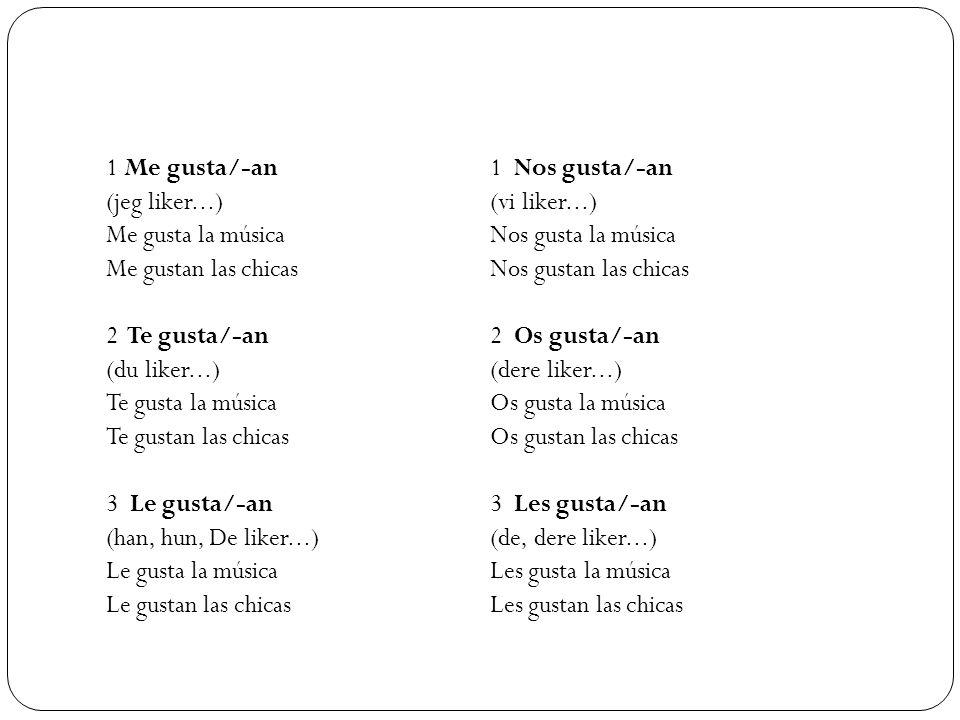 1 Me gusta/-an 1 Nos gusta/-an