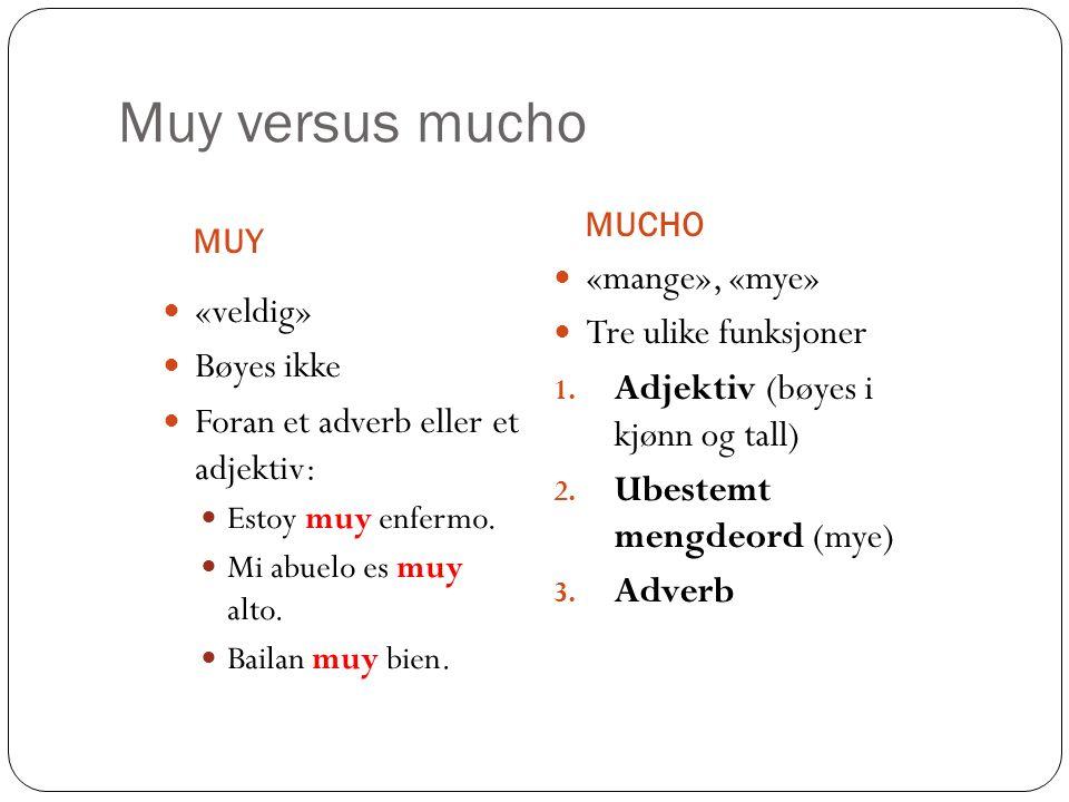 Muy versus mucho «mange», «mye» Tre ulike funksjoner «veldig»