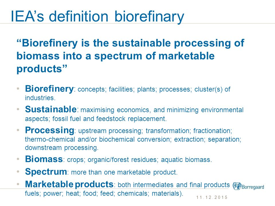 IEA's definition biorefinary
