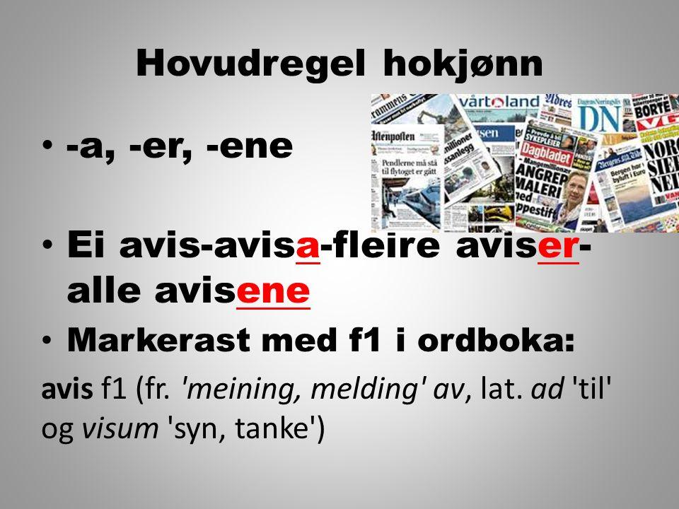 Ei avis-avisa-fleire aviser- alle avisene