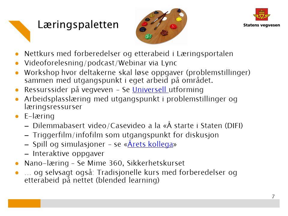 Læringspaletten Nettkurs med forberedelser og etterabeid i Læringsportalen. Videoforelesning/podcast/Webinar via Lync.