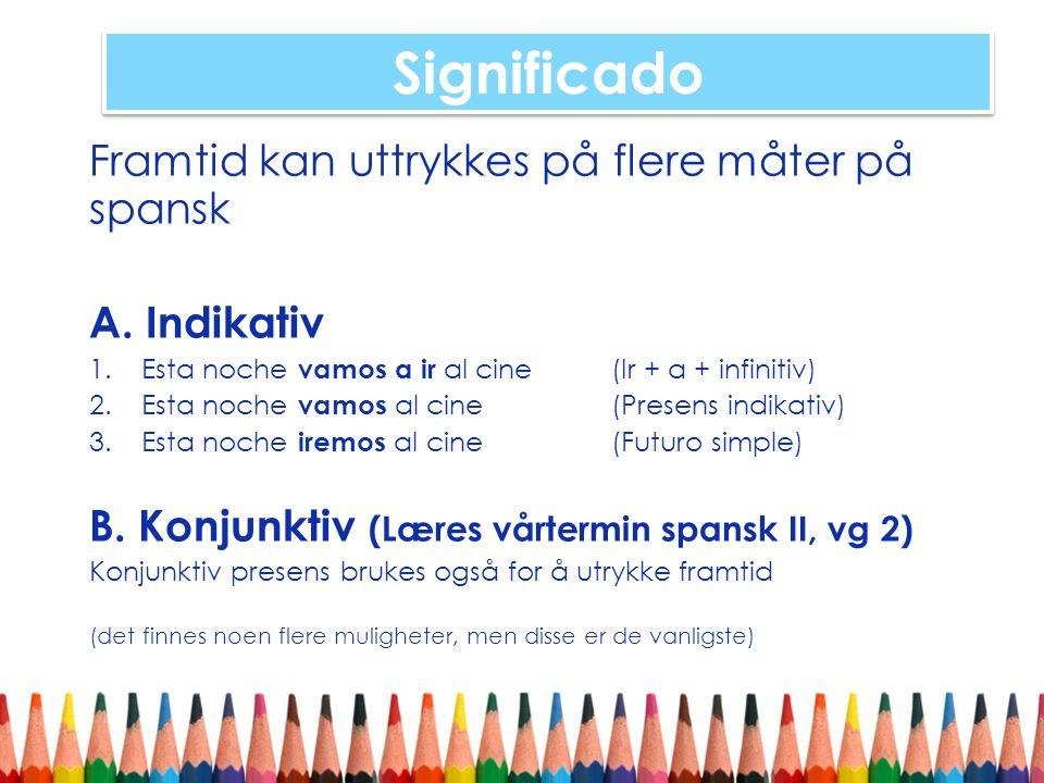Significado Framtid kan uttrykkes på flere måter på spansk