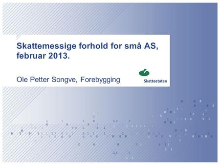 Skattemessige forhold for små AS, februar 2013.