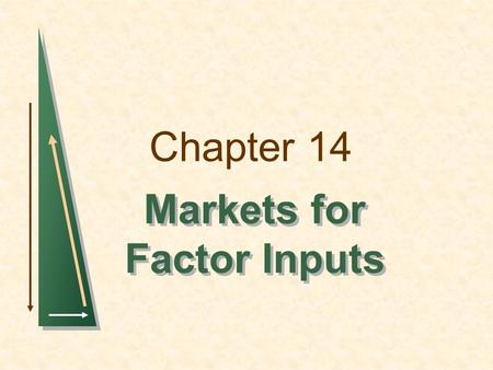 Markets for Factor Inputs