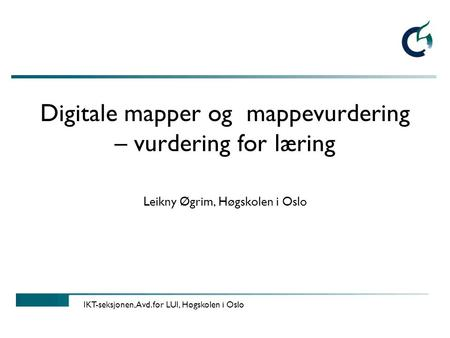 Digitale mapper og mappevurdering – vurdering for læring