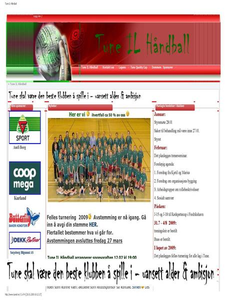 Sponsorinformasjon for Tune IL Håndball