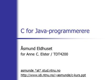 C for Java-programmerere