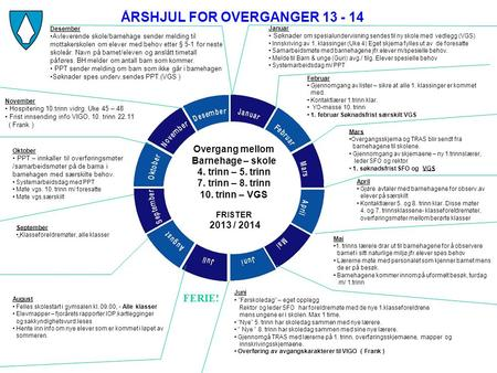 ÅRSHJUL FOR OVERGANGER