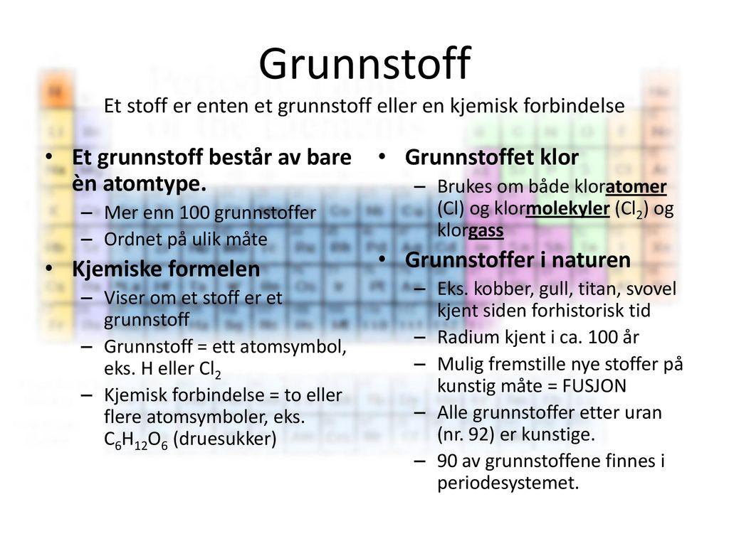 Grunnstoff Og Kjemisk Forbindelse