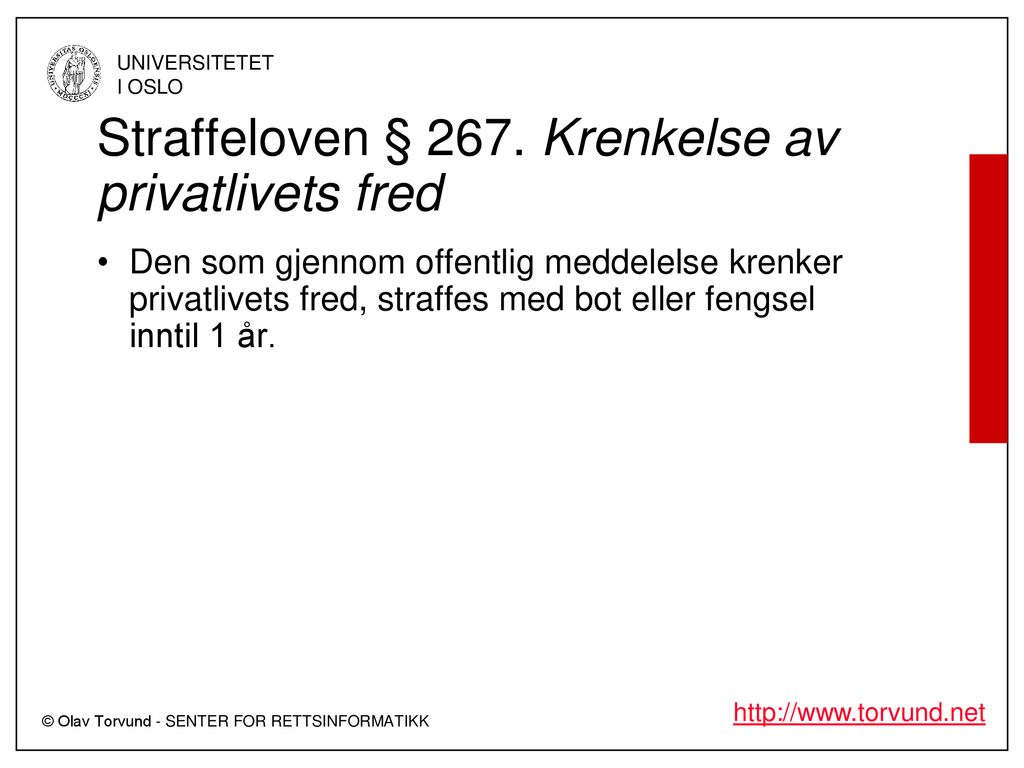 privatlivets fred straffeloven