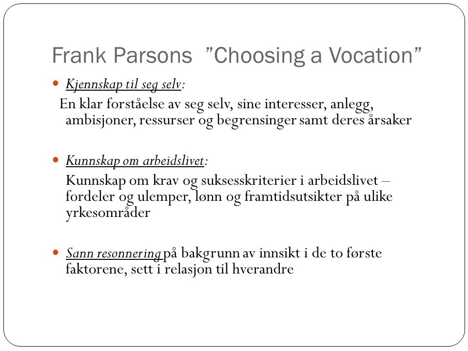 Frank Parsons Choosing a Vocation