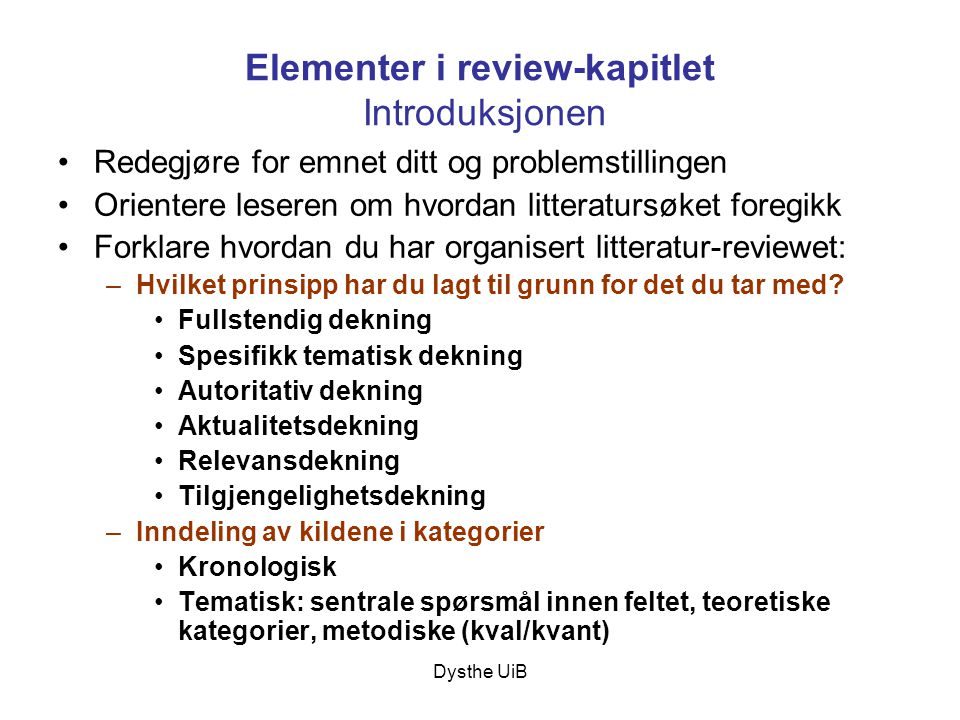 Elementer i review-kapitlet Introduksjonen