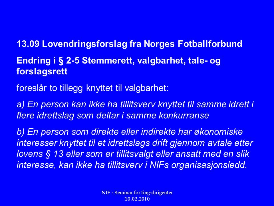NIF - Seminar for ting-dirigenter