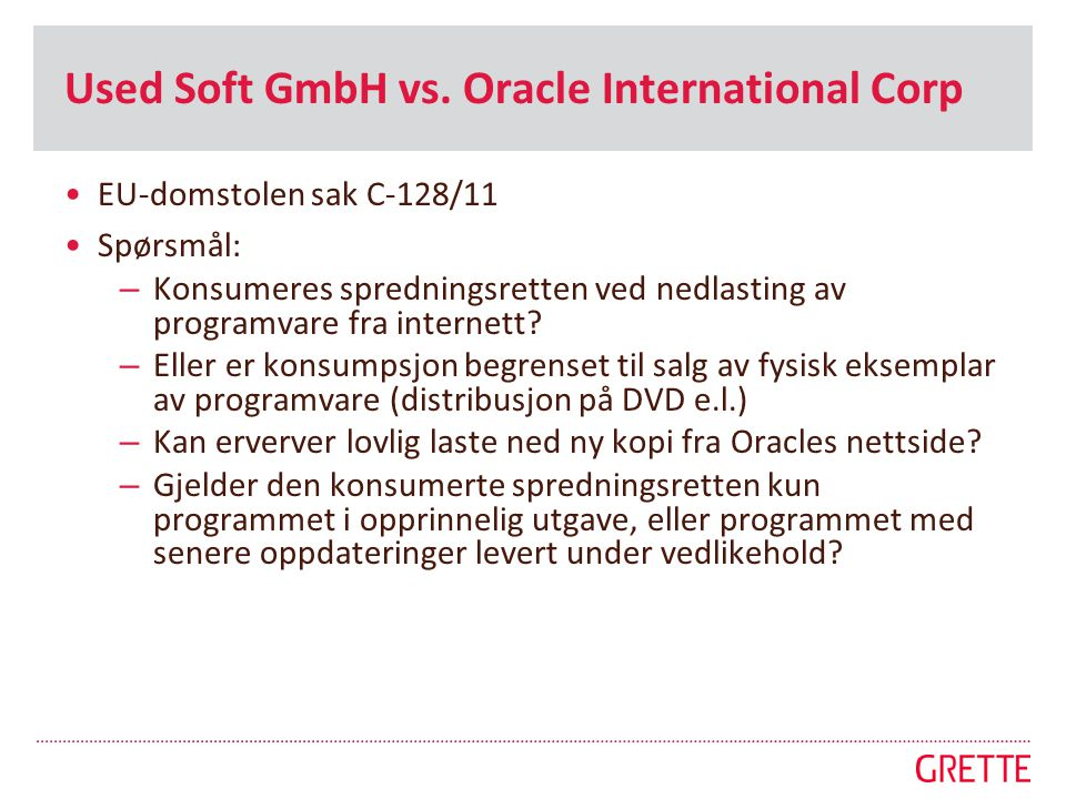Used Soft GmbH vs. Oracle International Corp