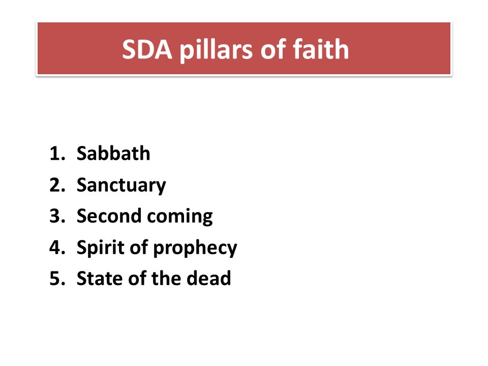 Sabbath Sanctuary Second coming Spirit of prophecy State of the dead