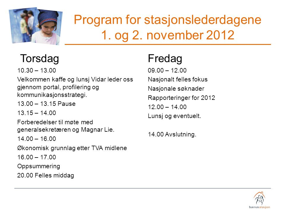 Program for stasjonslederdagene 1. og 2. november 2012