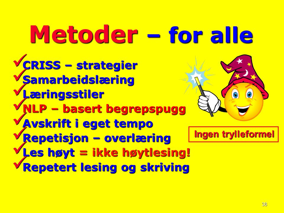 Metoder – for alle CRISS – strategier Samarbeidslæring Læringsstiler