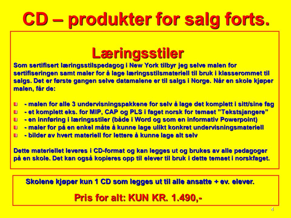 CD – produkter for salg forts.