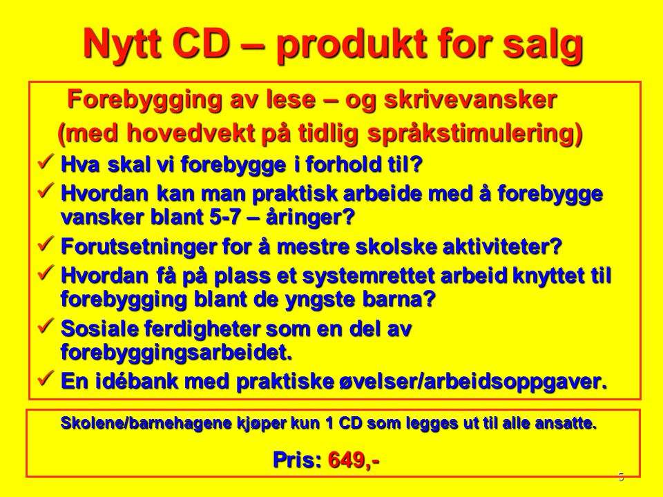 Nytt CD – produkt for salg