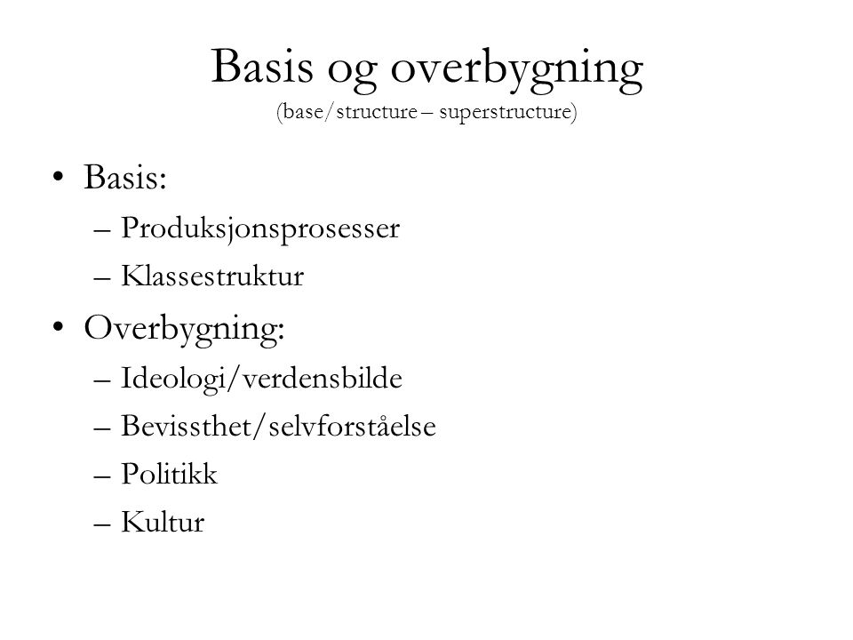 Basis og overbygning (base/structure – superstructure)
