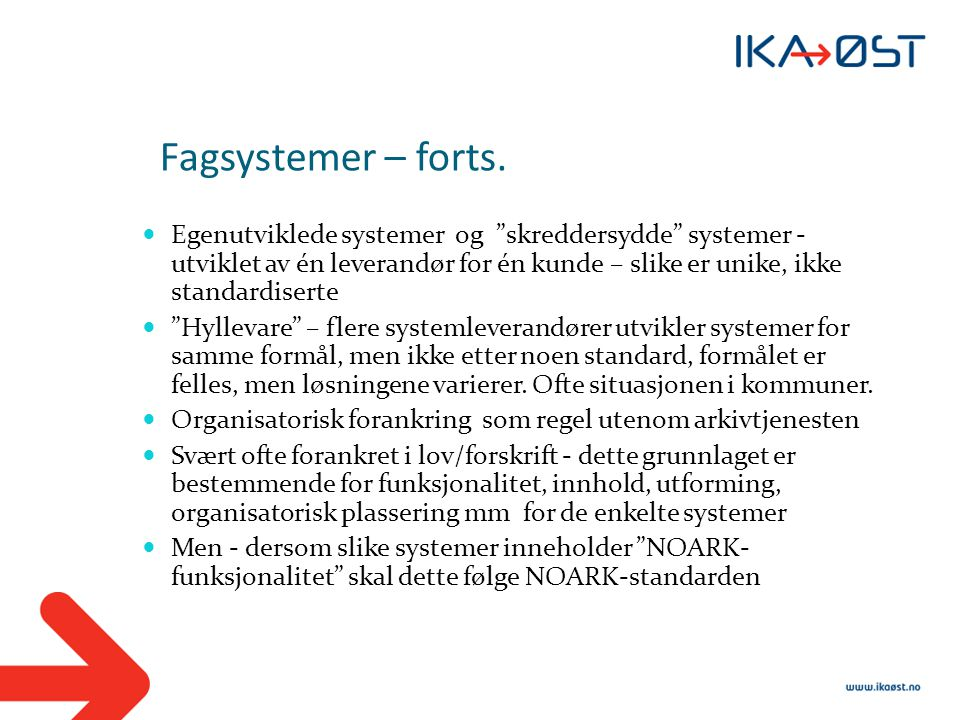 Fagsystemer – forts.