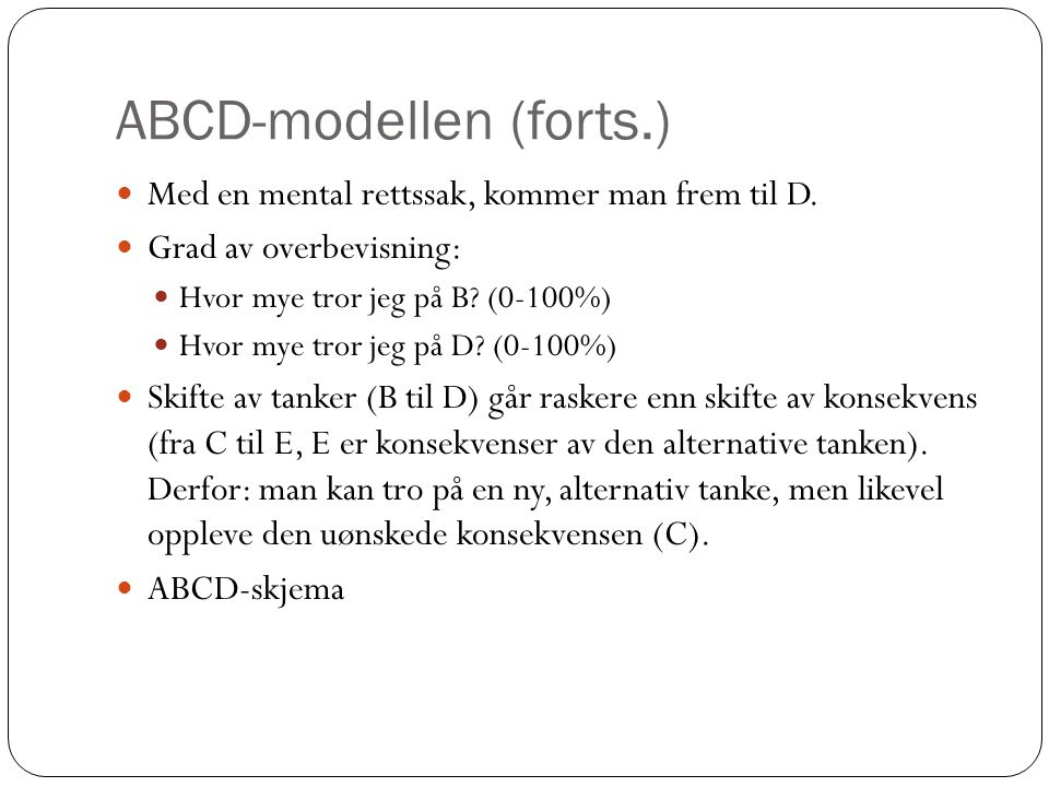 ABCD-modellen (forts.)