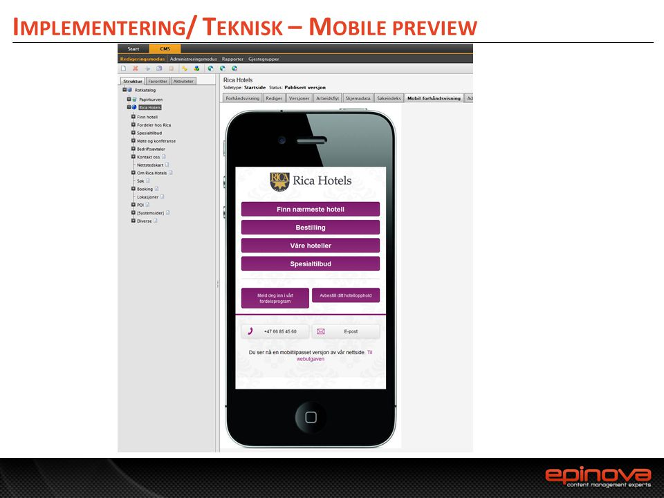 Implementering/ Teknisk – Mobile preview
