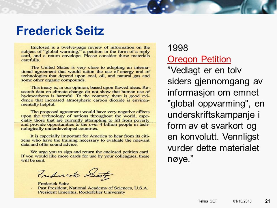 Frederick Seitz 1998 Oregon Petition