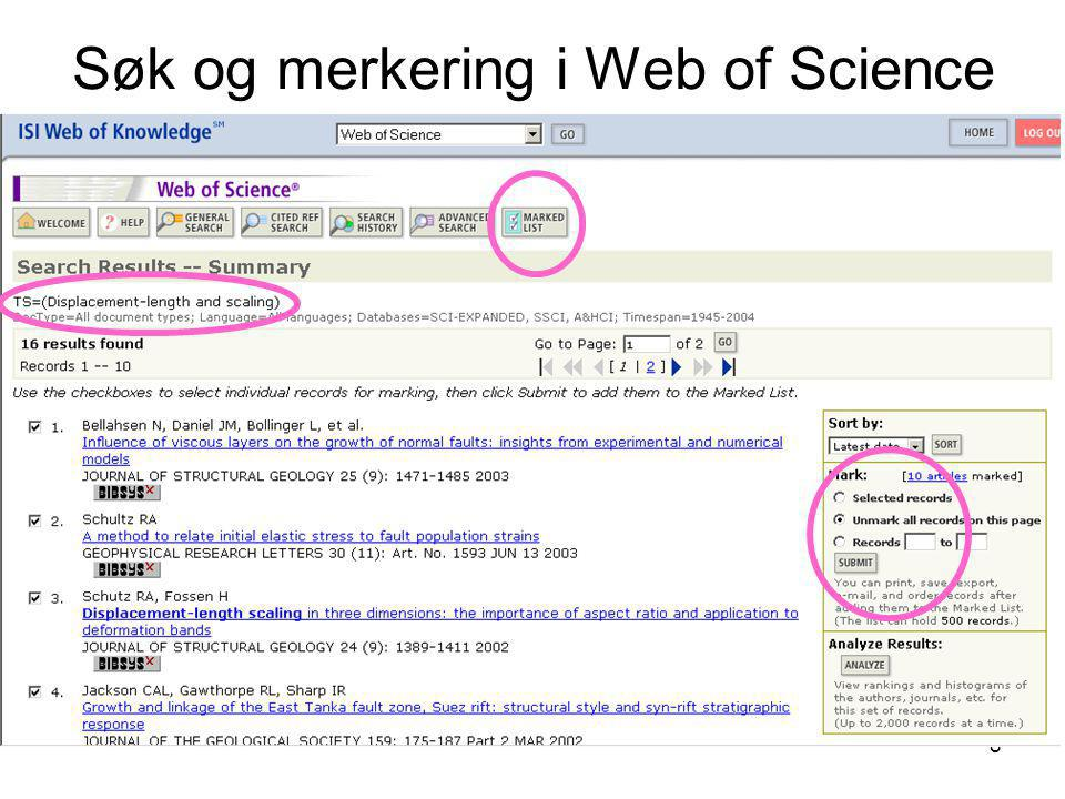 Søk og merkering i Web of Science