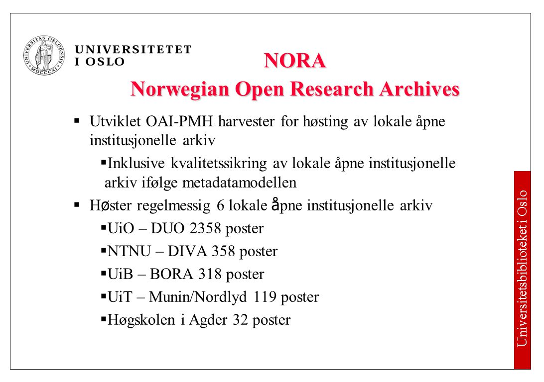 NORA – Norwegian Open Research Archives