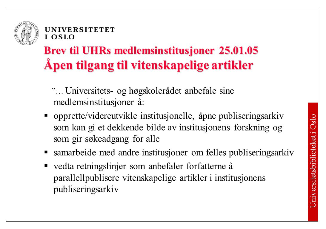 Open Access To veier til open access: