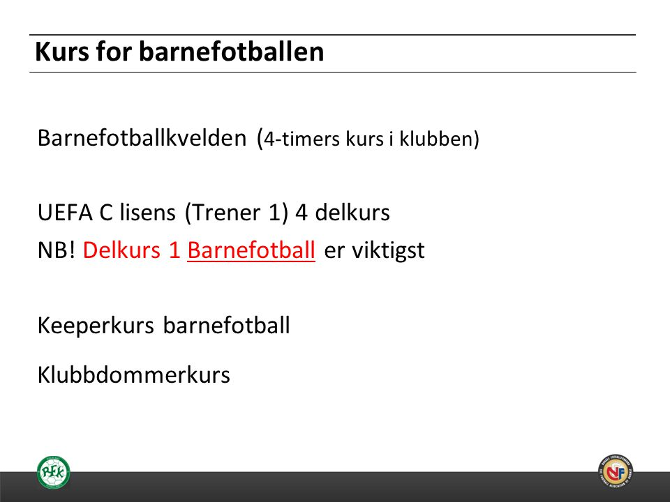 Kurs for barnefotballen