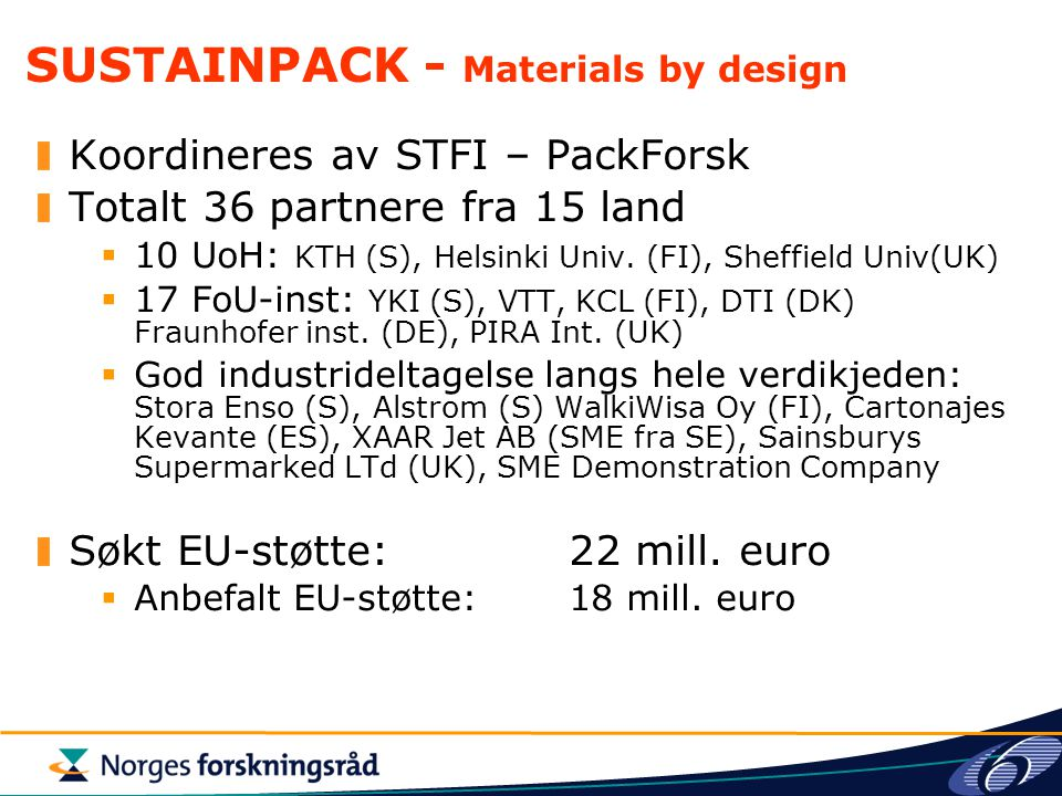 SUSTAINPACK - Materials by design