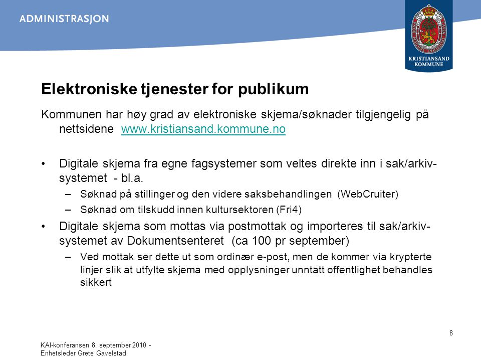 Elektroniske tjenester for publikum