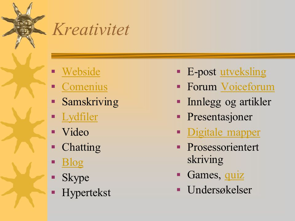 Kreativitet Webside Comenius Samskriving Lydfiler Video Chatting Blog