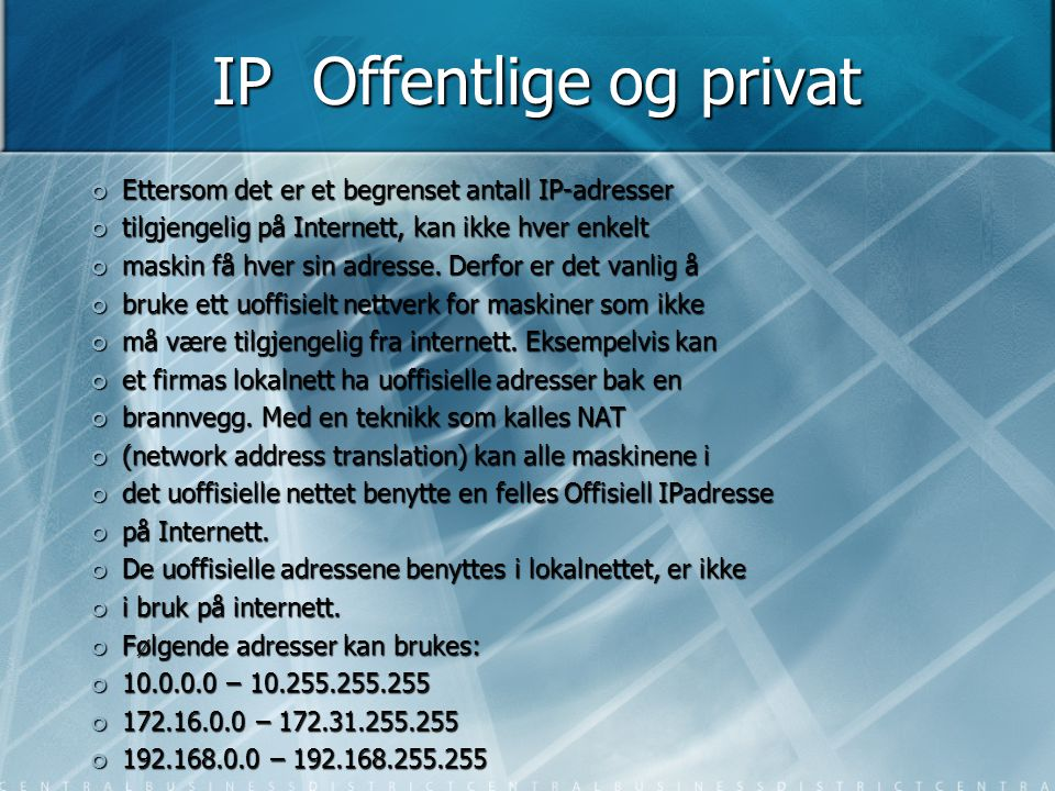IP Offentlige og privat