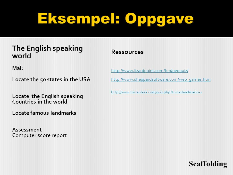 Eksempel: Oppgave The English speaking world Scaffolding Ressources