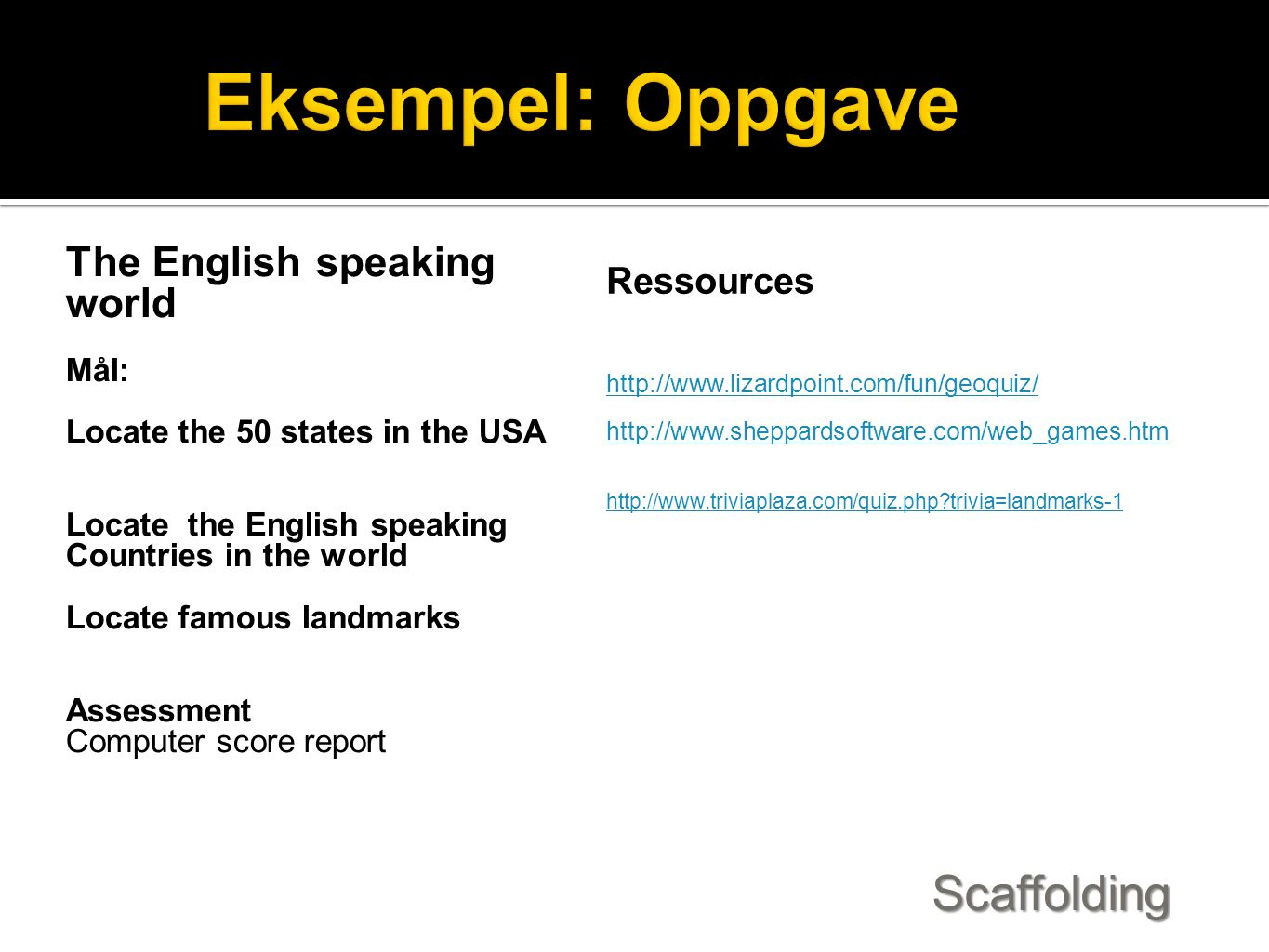 Eksempel: Oppgave Scaffolding The English speaking world Ressources