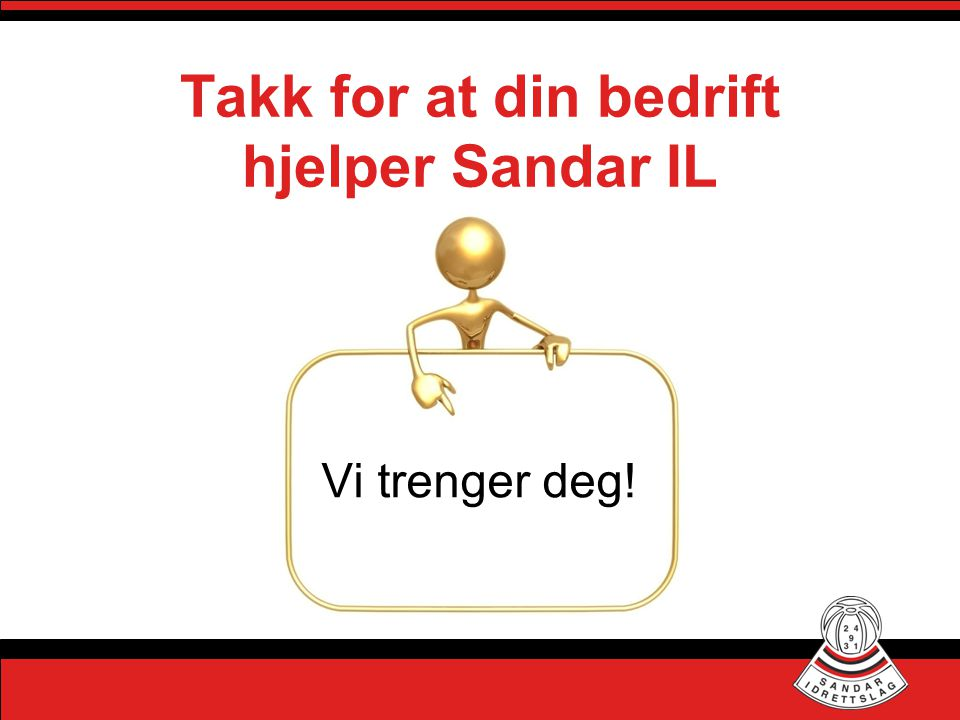 Takk for at din bedrift hjelper Sandar IL