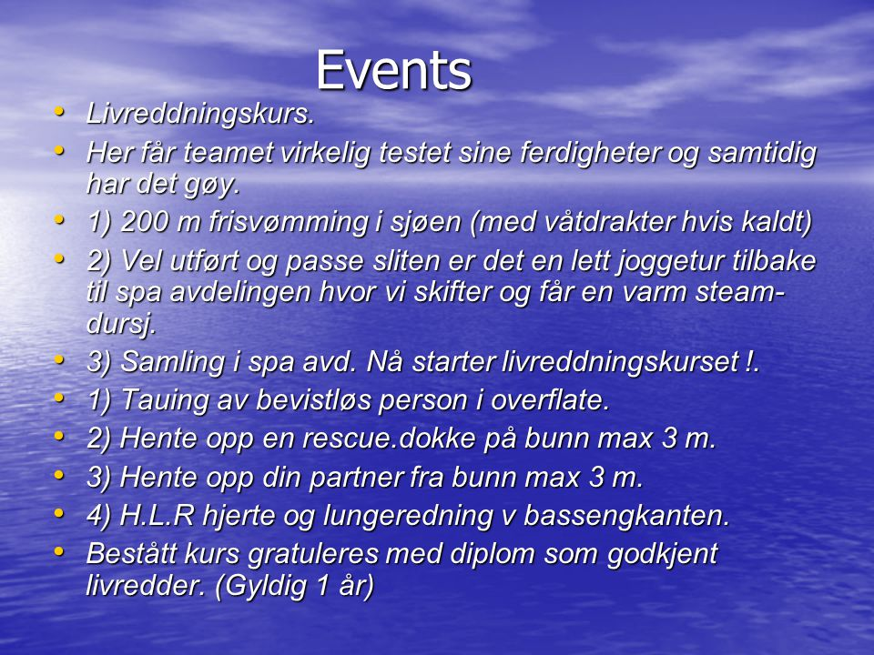 Events Livreddningskurs.