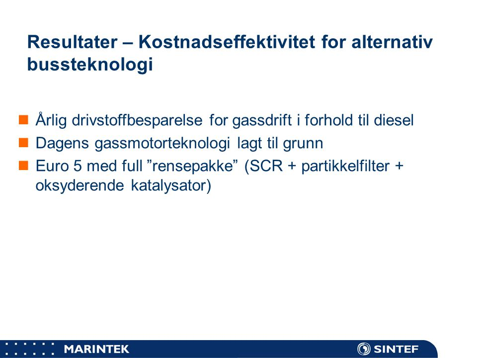 Resultater – Kostnadseffektivitet for alternativ bussteknologi