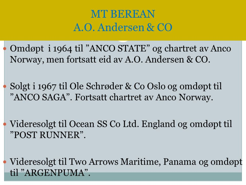 MT BEREAN A.O. Andersen & CO