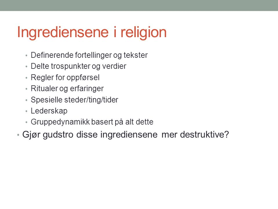 Ingrediensene i religion