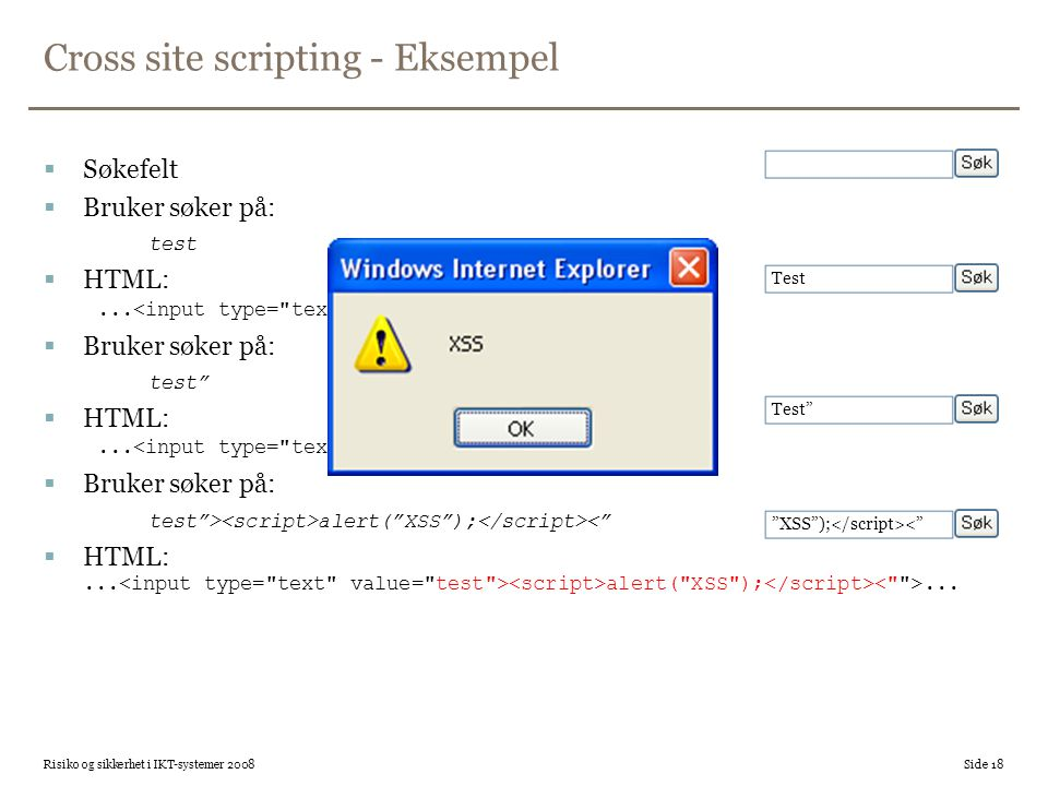 Cross site scripting - Eksempel