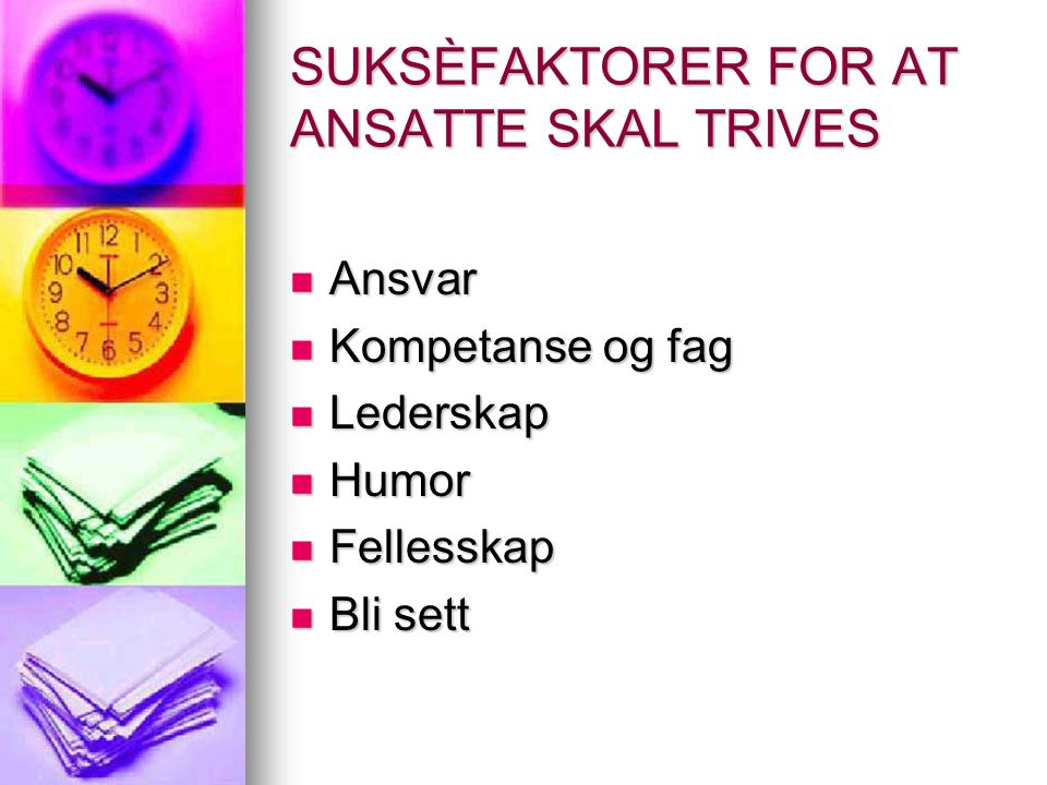 SUKSÈFAKTORER FOR AT ANSATTE SKAL TRIVES