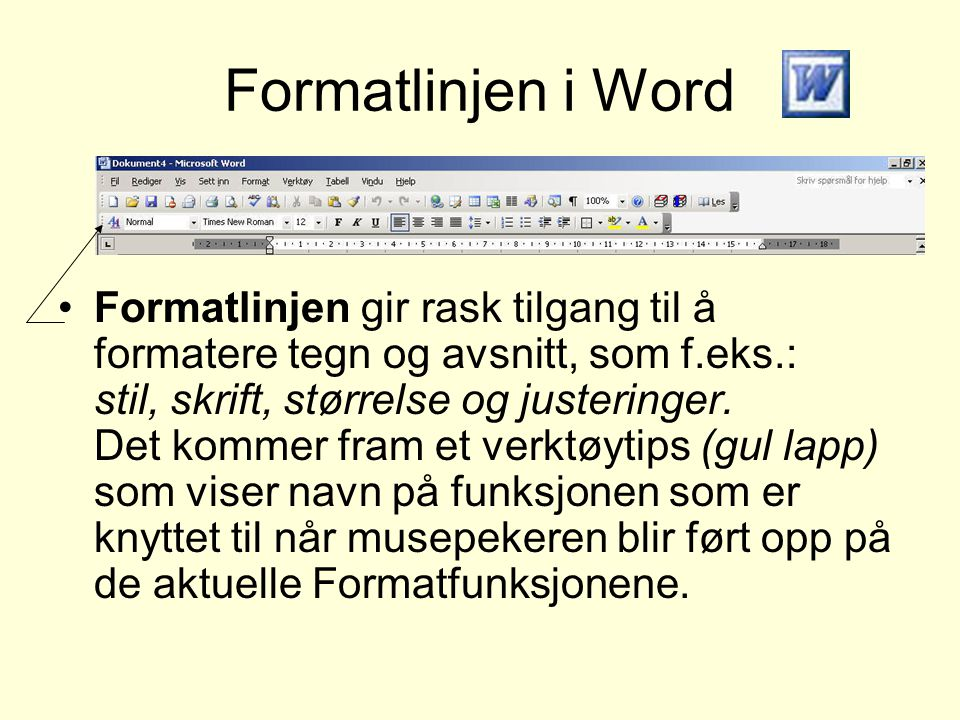 Formatlinjen i Word